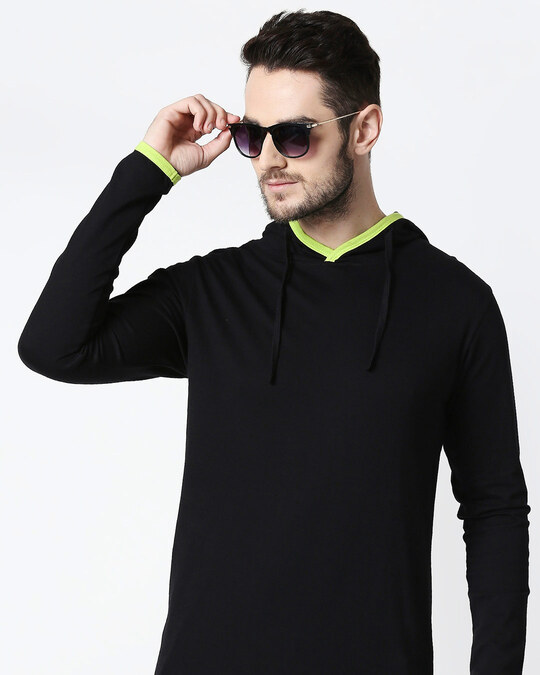 Shop Men's Plain Back Panel Full Sleeve Hoodie T-shirt(Black-Neon Green)-Front