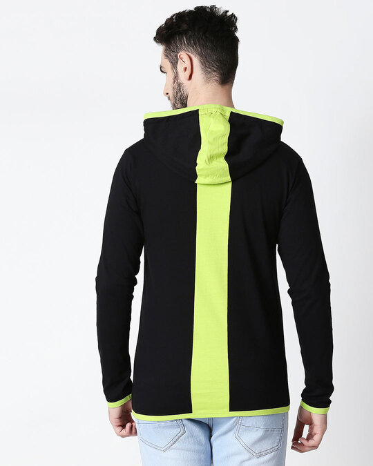 Shop Men's Plain Back Panel Full Sleeve Hoodie T-shirt(Black-Neon Green)-Full
