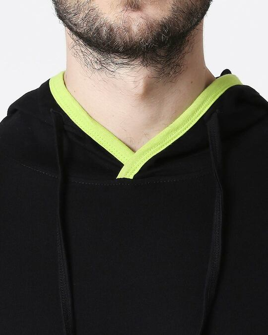 Shop Men's Plain Back Panel Full Sleeve Hoodie T-shirt(Black-Neon Green)