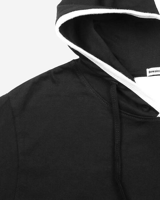 Shop Men's Plain Back Panel Full Sleeve Hoodie T-shirt(Black-White)