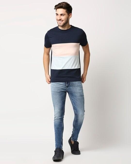 Shop Pageant Blue Candy Block Half Sleeve T-shirt