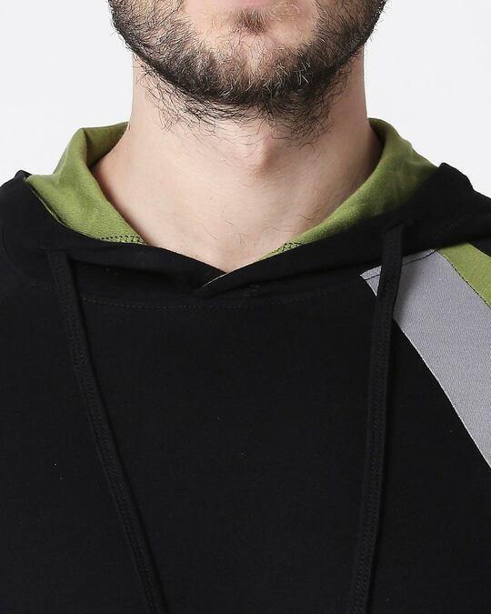 Shop Men's Plain Colorblock Three Panel Full sleeve Hoodie T-shirt (Black-Meteor Grey-Woodbine Green)