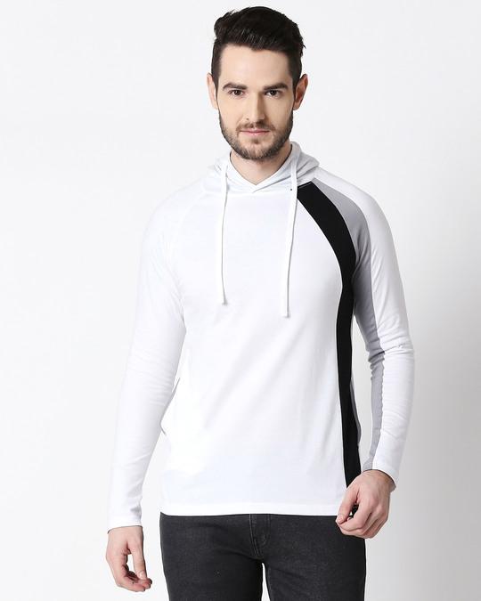 Shop Men's Plain Colorblock Three Panel Full sleeve Hoodie T-shirt (White-Black-Meteor Grey)-Back