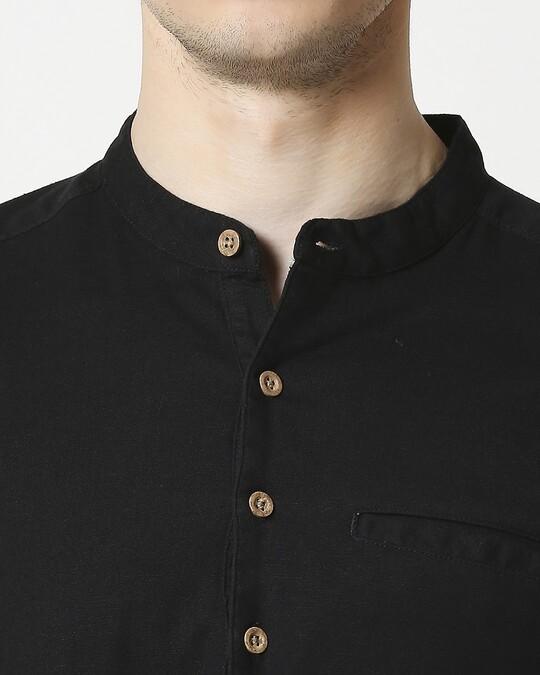 Shop Men's Cotton Solid Black Kurta
