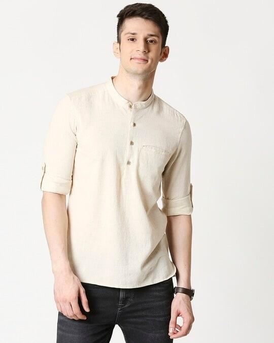 Shop Mens's Viscose Cotton Solid Beige Kurta-Front