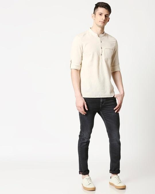 Shop Mens's Viscose Cotton Solid Beige Kurta