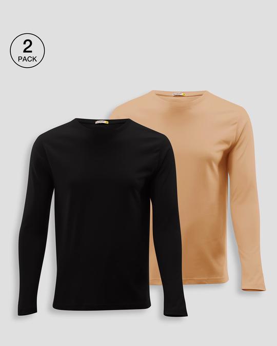 Shop Men's Plain Full Sleeve T-shirt Pack of 2(Black & Brown)-Front