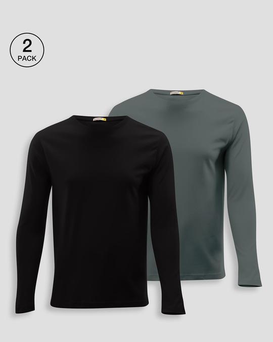 Shop Men's Plain Full Sleeve T-shirt Pack of 2 (Black & Grey)-Front