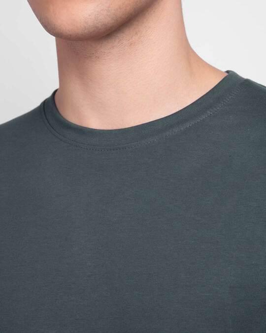 Shop Men's Plain Full Sleeve T-shirt Pack of 2 (Black & Grey)