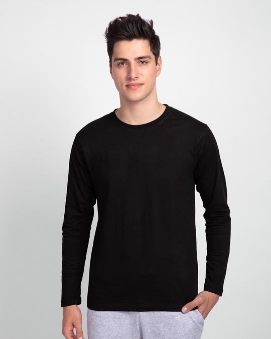 Shop Men's Plain Full Sleeve T-Shirt Pack of 2(Black & White )-Back
