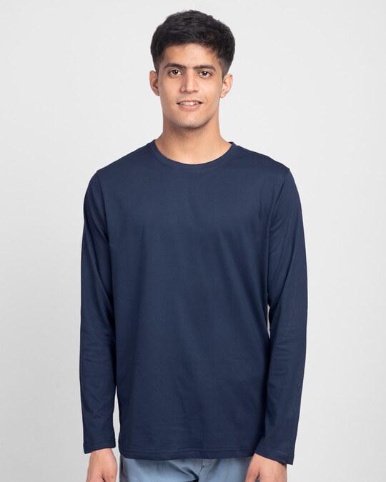 Shop Men's Plain Full Sleeve T-shirt Pack of 2(Blue & Grey )-Back