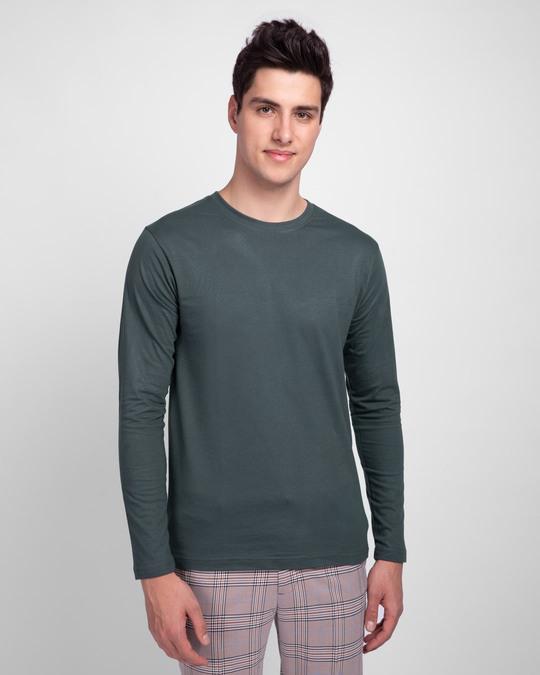 Shop Men's Plain Full Sleeve T-shirt Pack of 2(Blue & Grey )-Full