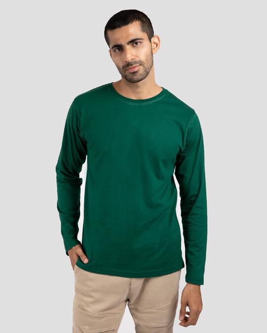 Shop Men's Plain Full Sleeve T-shirt Pack of 2(Green & Blue )-Design