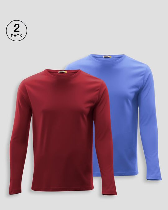 Shop Men's Plain Full Sleeve T-shirt Pack of 2(Red & Blue)-Front