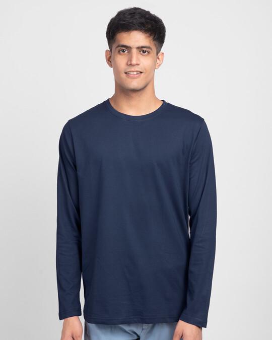 Shop Men's Plain Full Sleeve T-shirt Pack of 3 (Bold Red, Nimbus Grey, Galaxy Blue)-Full