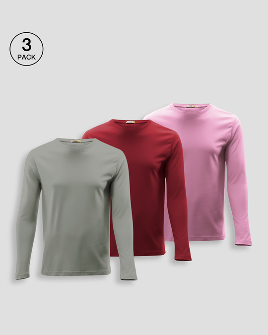 Shop Men's Plain Full Sleeve T-shirt Pack of 3 (Meteor Grey-Scarlet Red-Frosty Pink)-Front