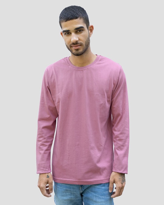 Shop Men's Plain Full Sleeve T-shirt Pack of 3 (Meteor Grey-Scarlet Red-Frosty Pink)-Full