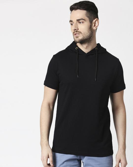 Shop Men's Plain Half Sleeve Hoodie T-shirt(Black)-Front