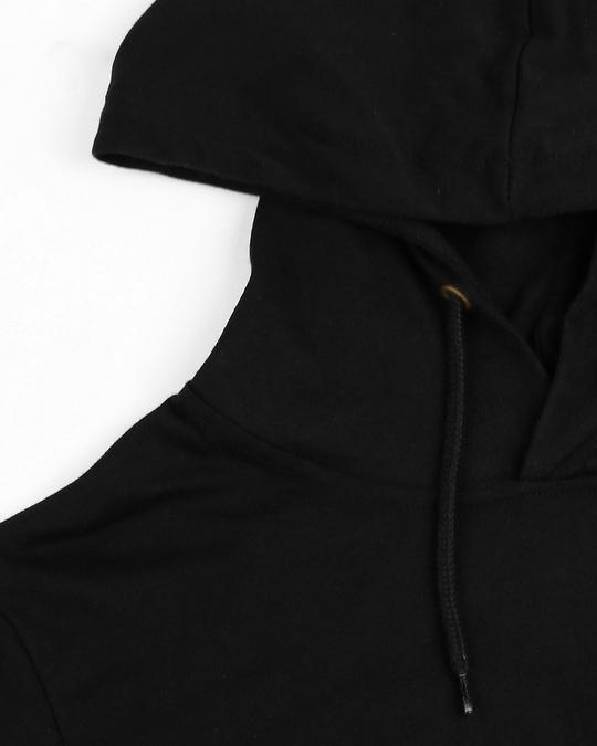 Shop Men's Plain Half Sleeve Hoodie T-shirt(Black)