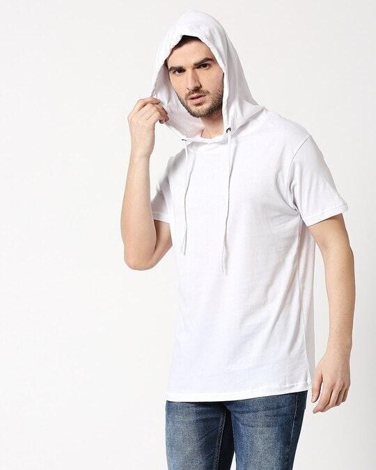 Shop Men's Plain Half Sleeve Hoodie T-Shirt(White)-Design