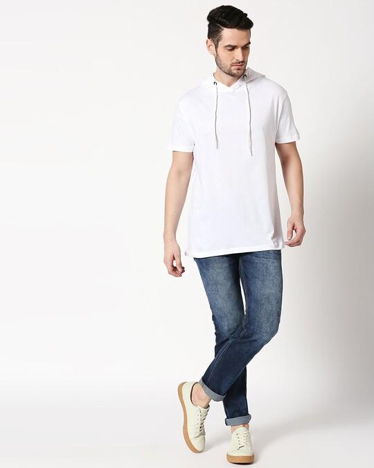 Shop Men's Plain Half Sleeve Hoodie T-Shirt(White)