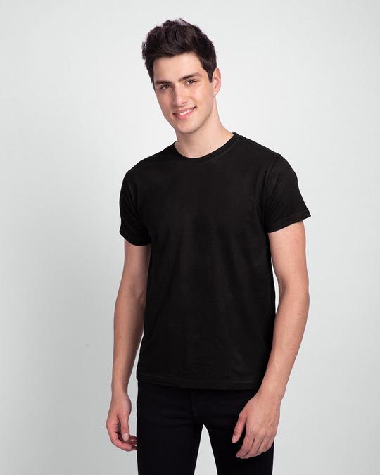 Shop Men's Plain Half Sleeve T-shirt Pack of 2(Black & Meteor Grey)-Back