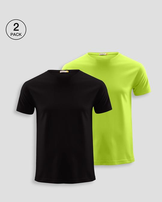 Shop Men's Plain Half Sleeve T-shirt Pack of 2(Black & Neon Green)-Front