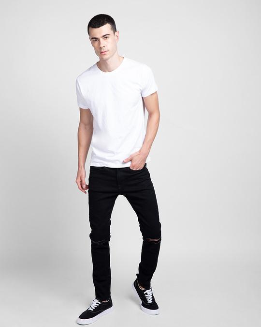 Shop Men's Plain Half Sleeve T-shirt Pack of 2(Black & White)