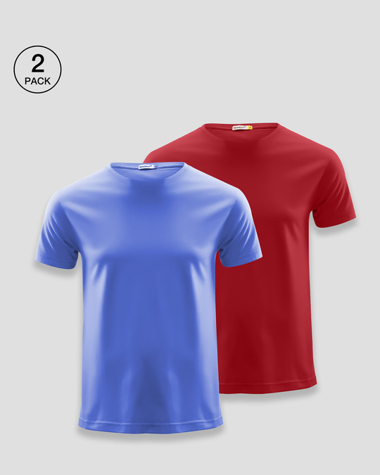 Shop Men's Plain Half Sleeve T-shirt Pack of 2(Blue & Red)-Front