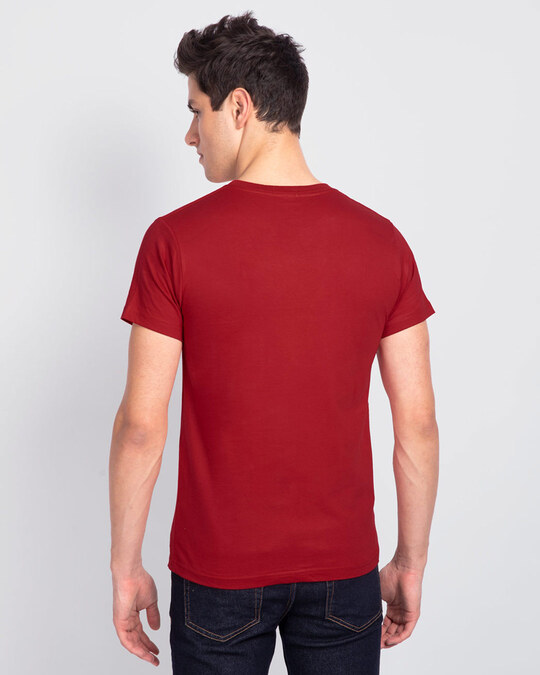 Shop Men's Plain Half Sleeve T-shirt Pack of 2(Blue & Red)
