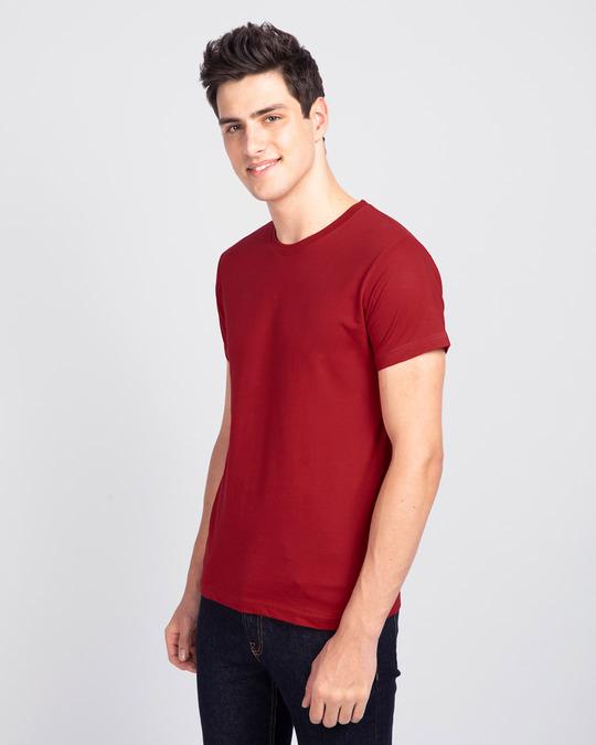 Shop Men's Plain Half Sleeve T-shirt Pack of 2(Blue & Red)