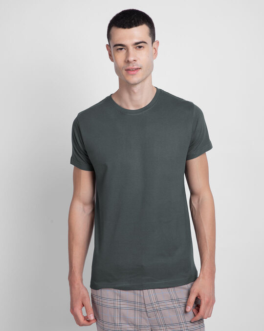 Shop Men's Plain Half Sleeve T-shirt Pack of 2(Grey & Blue)-Back