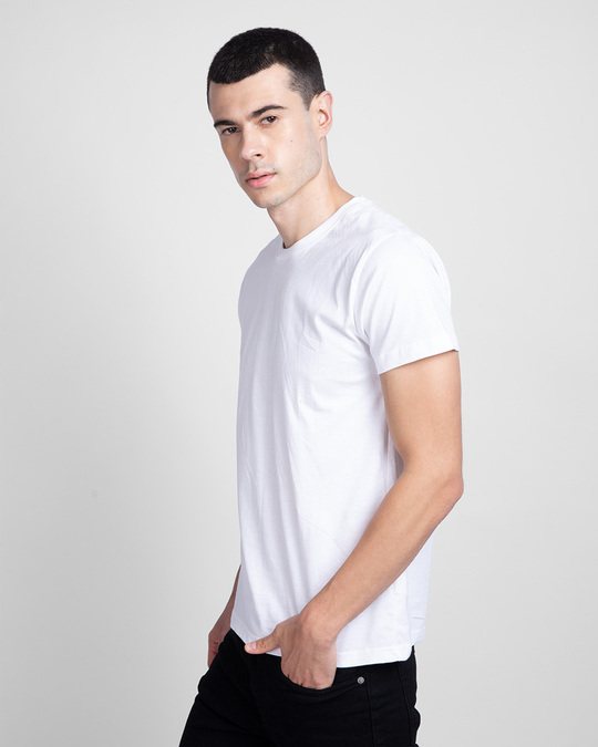 Shop Men's Plain Half Sleeve T-shirt Pack of 2(White & Pineapple Yellow)