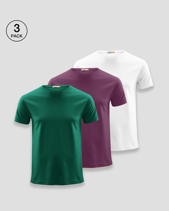Shop Men's Plain Half Sleeve T-shirt Pack of 3 (Dark Forest Green-Deep Purple-White)-Front