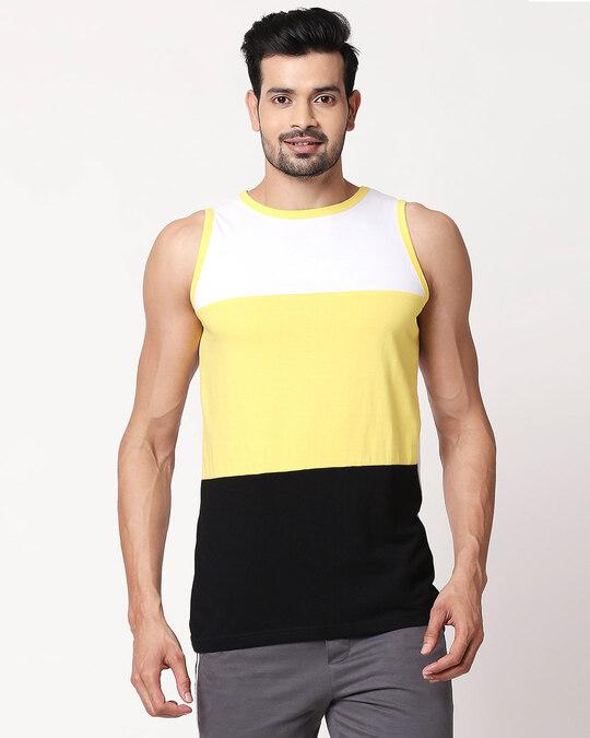 Shop Men's Plain Horizontal Three Panel Vest(White-Pineapple Yellow-Black)-Back