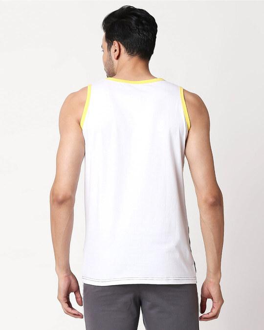 Shop Men's Plain Horizontal Three Panel Vest(White-Pineapple Yellow-Black)-Design
