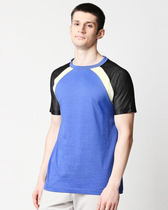 Shop Dazzling Blue Mesh Half Sleeve Raglan T-Shirt-Front