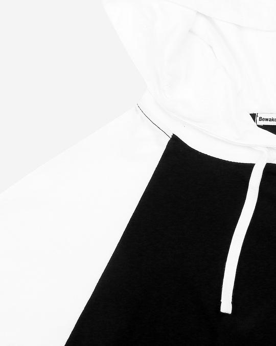 Shop Men's Plain Raglan Full Sleeve Hoodie T-shirt(White-Black)