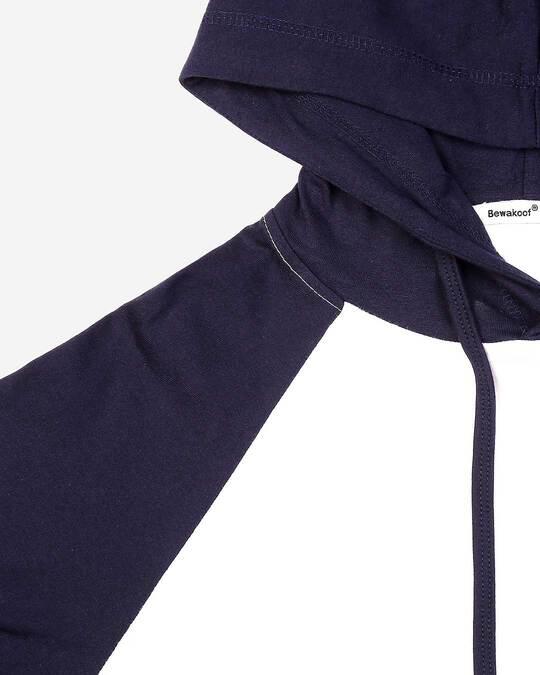 Shop Men's Plain Raglan Full Sleeve Hoodie T-shirt(White-Navy Blue)