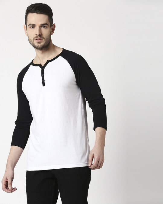Shop Men's Plain Raglan Henley Full Sleeve(White-Black)-Front
