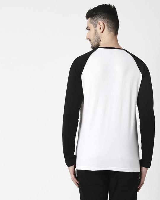 Shop Men's Plain Raglan Henley Full Sleeve(White-Black)-Full