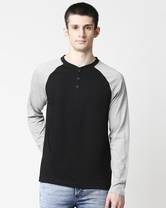 Shop Black - Grey Melange Raglan Full Sleeve Henley-Front