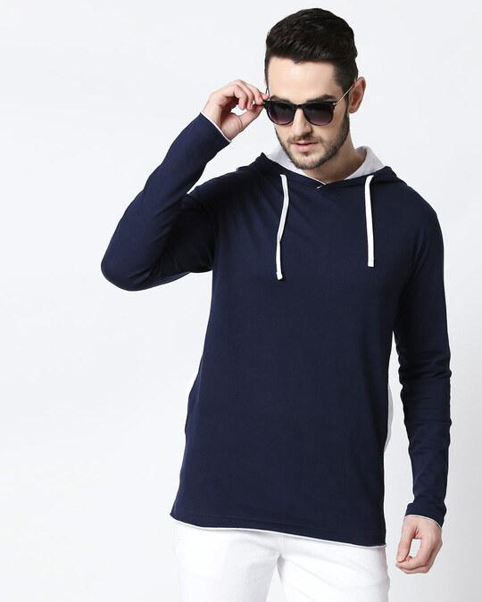 Shop Men's Plain Raw Edge Full Sleeve Hoodie T-shirt(Navy Blue-White)-Front