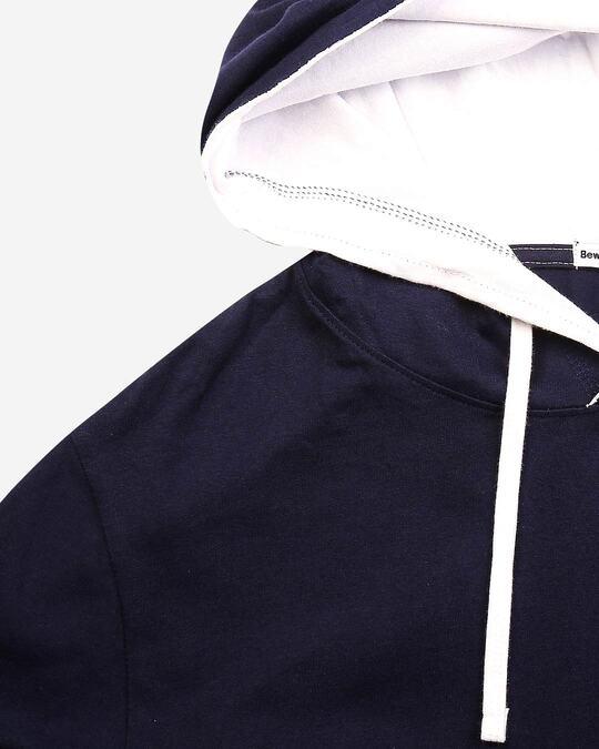 Shop Men's Plain Raw Edge Full Sleeve Hoodie T-shirt(Navy Blue-White)