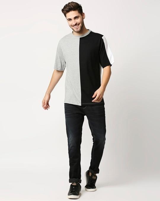 Shop Black Half and Half T-Shirt-Full