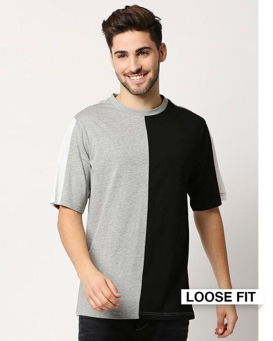 Shop Black Half and Half T-Shirt-Front