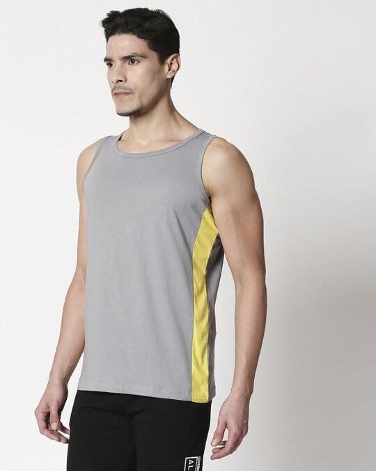 Shop Men's Plain Side Panel Vest (Meteor Grey-Pineapple Yellow)-Back
