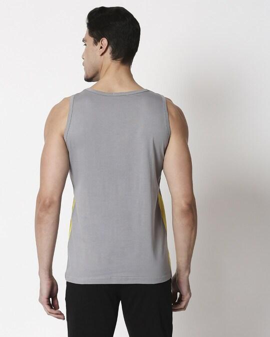Shop Men's Plain Side Panel Vest (Meteor Grey-Pineapple Yellow)-Full