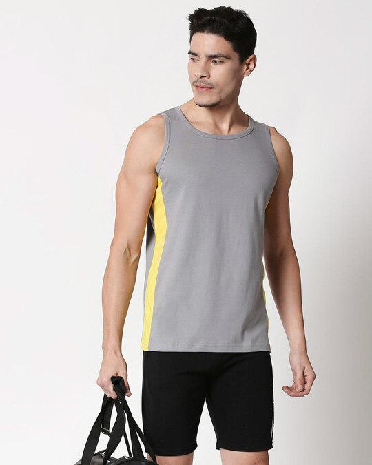 Shop Men's Plain Side Panel Vest (Meteor Grey-Pineapple Yellow)