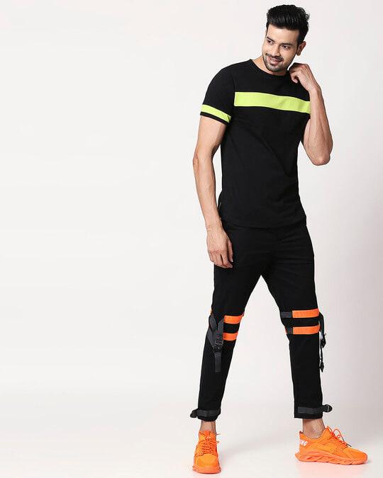 Shop Men's Plain Sport T-Shirt(Black-Neon Green)-Full